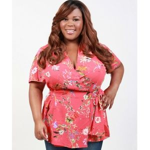 Yours Clothing Women/'s Plus Size rosa Palm Stampa Gitana